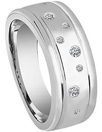 Bella Donna Damen- Ring 925 Silber 8 Diamanten ca. 0,15 ct. getöntes Piquè 2