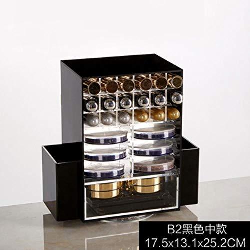 QIUHUI Acrylmultifunktionsmake-uporganisator 360 drehende kosmetische Magazinboxen mit hellschwarzer Schublade, 6 -
