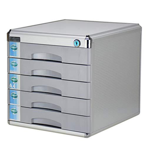 PEN-WJG Aluminium Fünf-Schicht-Aktenschrank, Schublade abschließbar, Desktop-Schrank, 300 * 360 * 308 mm