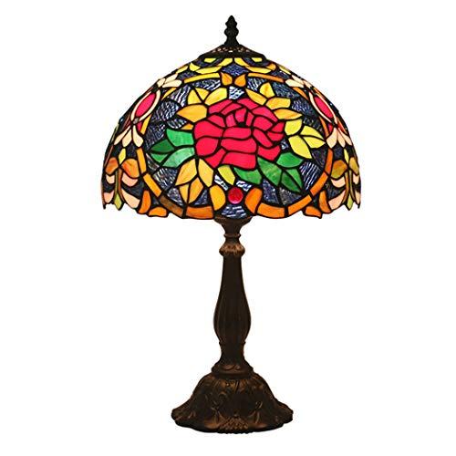 Tiffany-stil-rote Rose (Litaotao 12-Zoll-Tiffany-Stil Tischlampe Schlafzimmer Nachttischlampe Farbige Vintage Rote Rose Decor Lampe Für Schlafzimmer Wohnzimmer Büro, 110-220V, E27)