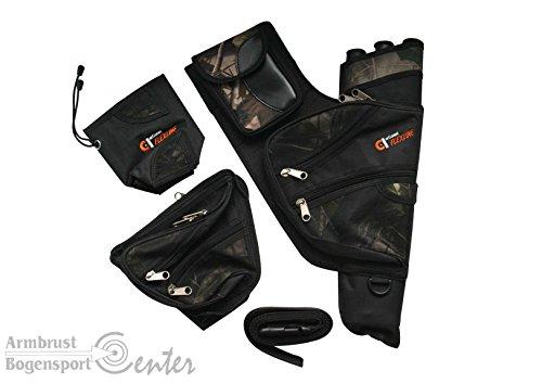 Tell-Sport Seitenköcher, Pfeilköcher, Köcherkombination, 4 teilig für Rechtshandschüzzen, camo (Armbrust Köcher Camo)