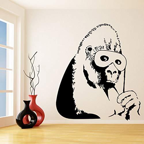 ljradj Vinyl Wandtattoo Gorilla In Eine Maske Wandaufkleber Für Wohnzimmer Vinyl Wandbilder Schimpanse Street Art Wanddekor Dekoration rot 56X64 cm (Bild-snowboard-jacke)