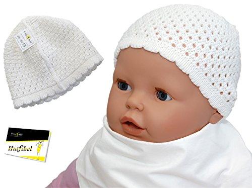 Babymütze weiß in Häkel-Optik - Unisex Taufmütze Erstlingsmütze (EH-20259-36/39) weiß, ca. 36-39 cm Kopfumfang - inkl. EveryHead-Hutfibel