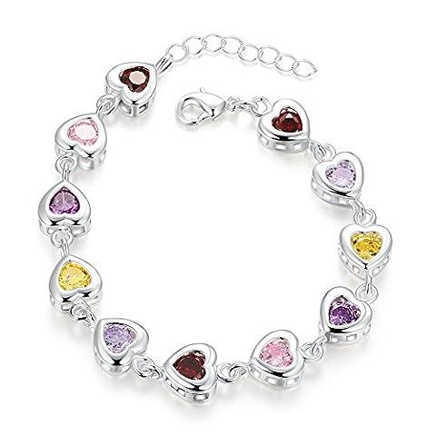Yeahjoy Plaqué platine pour femme Multicolore Strass coeurs liés Bracelet