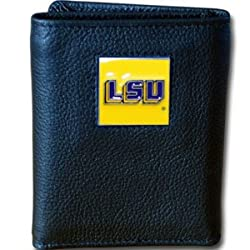 NCAA LSU Tigers Deluxe Leather Tri-fold Wallet