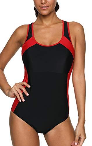 Anwell Damen sportlich einteilig Schwimmanzug Sport Training Bademode Schwarz Rot M -