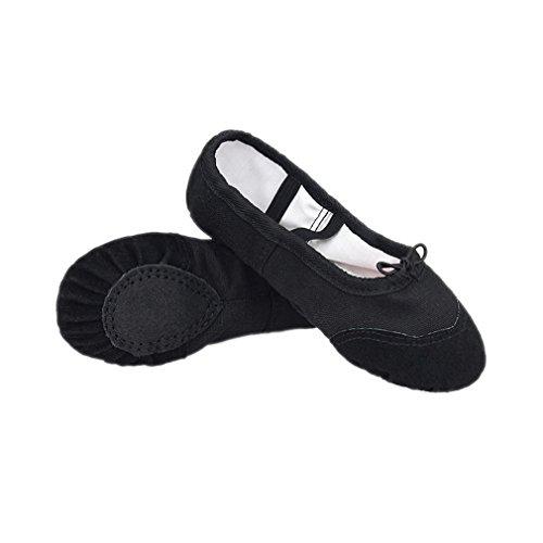 ELE GENS Mädchen Damen Ballettschläppchen Ballettschuhe Tanzschuhe Ballett Trainings Schläppchen Schuhe Schwarz