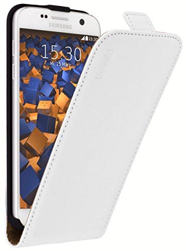 mumbi PREMIUM Leder Flip Case für Samsung Galaxy S7 Tasche weiss