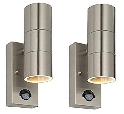 2 X PIR Stainless Steel Double Outdoor Wall Light With Movement Sensor IP44 Up/Down Outdoor Wall Light