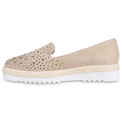 Damen Lack Slipper Loafers Metallic Quasten Schuhe Profilsohle Creme  Steinchen ...