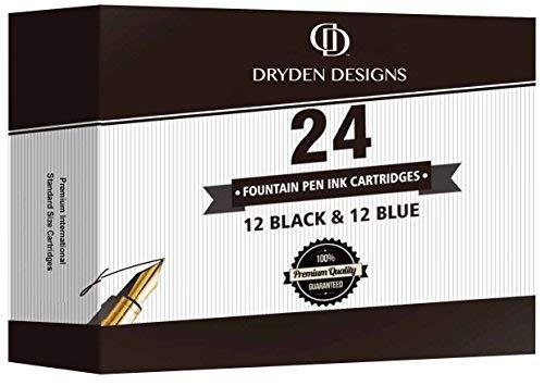 Füllhalter Füllfederhalter Füller-Tintenpatronen von Dryden - 24 Stück: 12 BLACK & 12 BLAU - Kurze internationale Standardgröße - Einweg-Nachfüllpatronen - Perfekt für Kalligraphie -