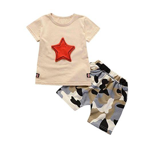 TPulling 2 Stücke Mode Frühling Sommer Jungen﹛12M-3T﹜Kinder Kurzarm Stern Anhänger Top + Camouflage Shorts Zweiteiler Party Top Outfits Kleider (Khaki, L/100) (Tutu Camouflage)