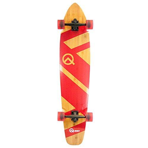 Quest Skateboards super Cruiser Crimson Bamboo & Maple Skateboard, Red, 44 by Quest Skateboards