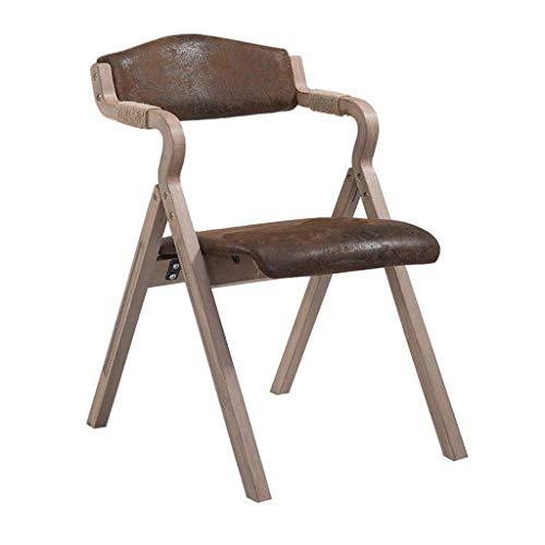 YAMEIJIA Retro Solid Wood Dining Chair mit Armrest Faltstuhl Soft Backrest und Seat Cushion für Kitchen Lounge Living Room-Vintage Faux Leder Stuhl,Retro (Faux-leder-stühle)