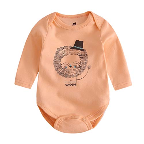 AIKSSOO Neugeborenes Baby-Mädchen-Lange Hülsenspielanzug-Karikatur-Bodysuit einteiliger Frühling (Color : Orange Lion, Size : 66) (Lion Kostüm Neugeborene)