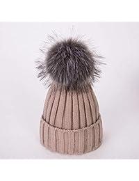 HAOLIEQUAN Cappello Invernale Cappello PON PON per Donna Cappello Donna con  Visiera Cappellino Berretto Lavorato A 15876da1348d