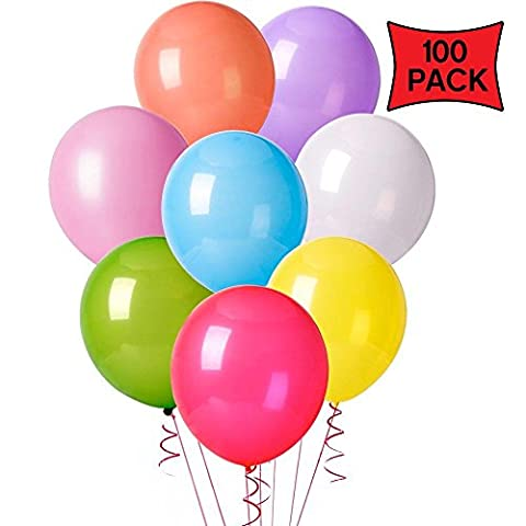 GrassVillage 12 Inches Assorted Colour Party Latex Balloons (100 Pack)