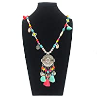 Carr Coverdale Pendants Jewelry Alloy Pendant Necklace Bohemian Boho Women Long Colour Wooden Beads Beaded Chain Necklace Gift for Giirl