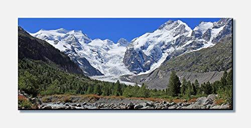 wandmotiv24 Leinwandbild Morteratsch Gletscher Alpen 100x40cm (BxH) Panoramabild Fotoleinwand...