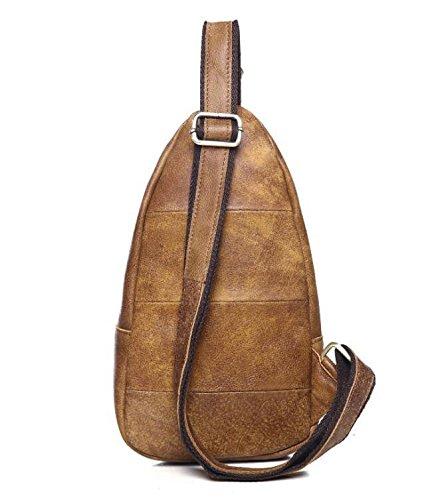 Casual chic Header Schicht aus Leder, echtem Leder Brust geschleudert Flut Paket Brown