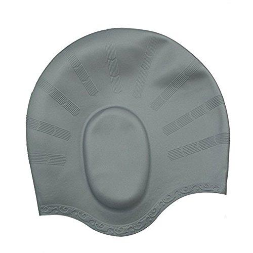 Badekappe Für Lange Haare,YOBOKO Wasserdicht zu schützen Silikon Badekappe Schwimmkappe für Damen und Herren inklusive kostenloser Nasenklammer inkl Schutzhülle und Ohrenstöpsel (Silver Grey)