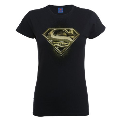 DC Universe Damen T-Shirt Dc Comics Official Superman Engraving Logo Womens T-shirt Schwarz - Schwarz