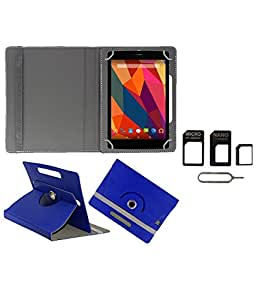 Gadget Decor (TM) PU Leather Rotating 360° Flip Case Cover With Stand For Axl 718GIA + Free Sim Adapter Kit - Dark Blue