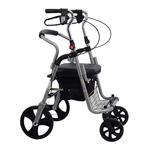 Aluminium 4 Rädern Rollator (STOUBYT FURNITURE CASA Leichter Zusammenklappbarer Verstellbarer Aluminium-Rollator, Trolley, Zusammenklappbarer Alter Einkaufsroller, Einkaufstrolley mit Vier Rädern)