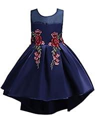ZAMME Las muchachas bordaron el vestido de la danza de la dama de honor de la boda del cumpleaños de la muchacha de flor