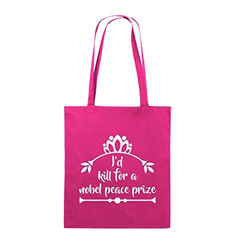 Buste Comiche - Id Kill Per Un Premio Nobel Per La Pace - Jutebeutel - Lange Henkel - 38x42cm - Farbe: Schwarz / Pink Pink / Weiss