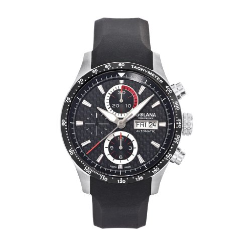 Golana Advanced Pro Men's Automatic Watch with Black Dial Chronograph Display and Black Rubber Strap AD230-1