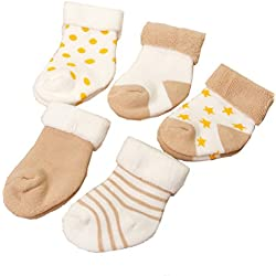 IKRR 5 piezas Baby's Socks Calcetines para Bebes Algodón Caqui,0-6Meses
