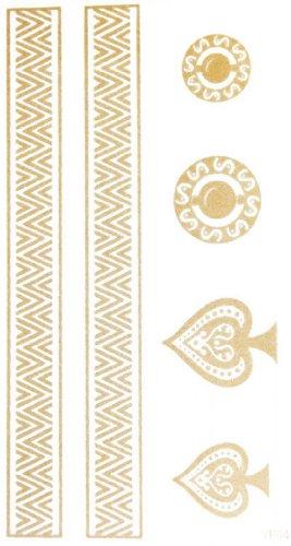 SPESTYLE wasserdicht ungiftig temporäre Tätowierung stickerslatest neue Design wasserdicht Heart-shaped Kreis längliche Streifen Gold temporäre Tattoos für Halsketten Armbänder Fußkettchen