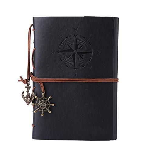 Kunstleder-Tagebuch, Notizbuch, nachfüllbar, Spiralbindung, klassisch, geprägt, Reise-Tagebuch, mit Blanko-Seiten und Retro-Anhängern, von Maleden schwarz