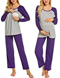 MAXMODA Patchwork Stillpyjama-Schlafanzug-Umstandspyjama für Damen Leichte Nachtwäsche für Schwangere mit Langarm und Brief Stickerei Lila XXL