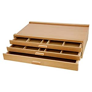 US Art Supply 3-Drawer Artist Wood Pastel, Pen, Marker Storage Box
