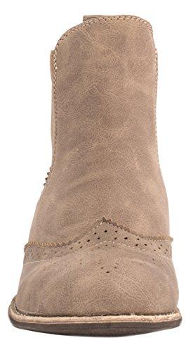 Elara Chelsea Boots   Trendige Kurzschaft Stiefeletten   Lochmuster Lederoptik Khaki