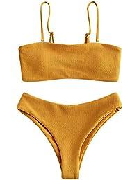 ZAFUL Damen Texturiert Spaghetti-Träger Gepolstert Bandeau Bikini Set