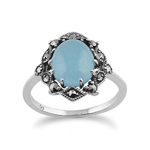Gemondo 925 Sterlingsilber Jugendstil Vintage Inspired Blau Jade & Markasit Ring