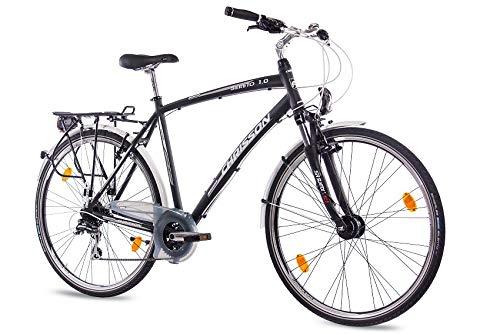 CHRISSON 28 Zoll Herren City Bike - Sereto 1.0 schwarz - Herrenfahrrad mit Nabendynamo und 24 Gang Shimano Acera Kettenschaltung, Trekkingfahrrad mit Suntour Federgabel