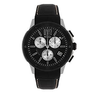 R&Co Men's Quartz Watch with Black Dial Chronograph Display and Black Leather Strap RGS00006/46/19