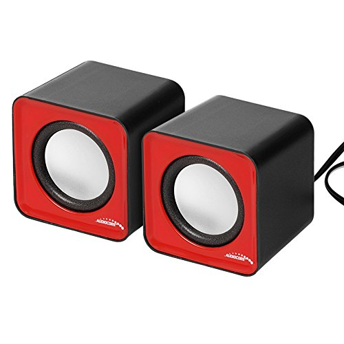 Audiocore AC870 Kompakt Stereo-Lautsprecher 2.0 PC 2×3 Watt RMS Rot