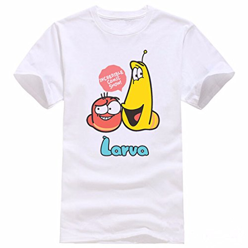 Men's Animation Larva Printed Cotton Short Sleeve Tee Shirt white