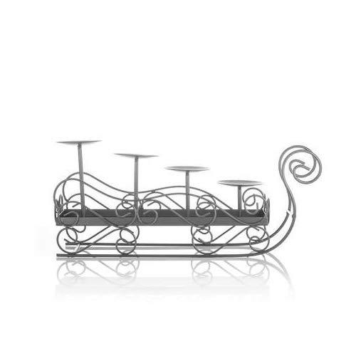 Online-Fuchs Dekorativer Kerzenhalter Schlitten zum Dekorieren für Weihnachten, Adventskerzen, Votivkerzen oder Kleine Stumpenkerzen (Schwarz) - Künstliche Kleiner Adventskranz