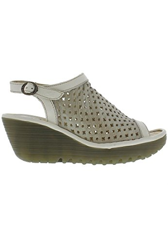 Fly London Womens Yuti734Fly Leather Sandals Silver / Off White