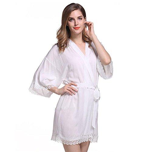 primavera signora e camicia da notte di pizzo bianco estate cotone mercerizzato pigiama di cotone pizzo pianura breve camicia da notte White