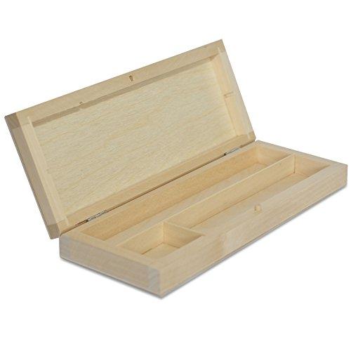 Creative Deco Stiftebox Holzbox Holzkiste mit Deckel | 22 x 8,5 x 3 cm | Holz-Schachtel, mit Trennwänden, Linde unbehandelt