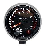 Voltage Meter Gauge Faderr 12 V Drehzahlmesser Drehzahlmesser mit Halter Tasse for Auto Auto 3,75'83mm 0~8000 RPM Rote LED-Licht for 4,6 und 8 Zylinder Automotor Silber (3,75) zum Auto Automobil Kr
