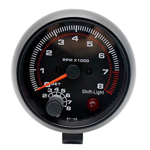 """Voltage Meter Gauge Faderr 12 V Drehzahlmesser Drehzahlmesser mit Halter Tasse for Auto Auto 3,75""""83mm 0~8000 RPM Rote LED-Licht for 4,6 und 8 Zylinder Automotor Silber (3,75) zum Auto Automobil Kr"""