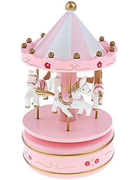 Holz Merry-go-round Karussell Aufzuwickeln Spieluhr Kinder Geschenk-pink